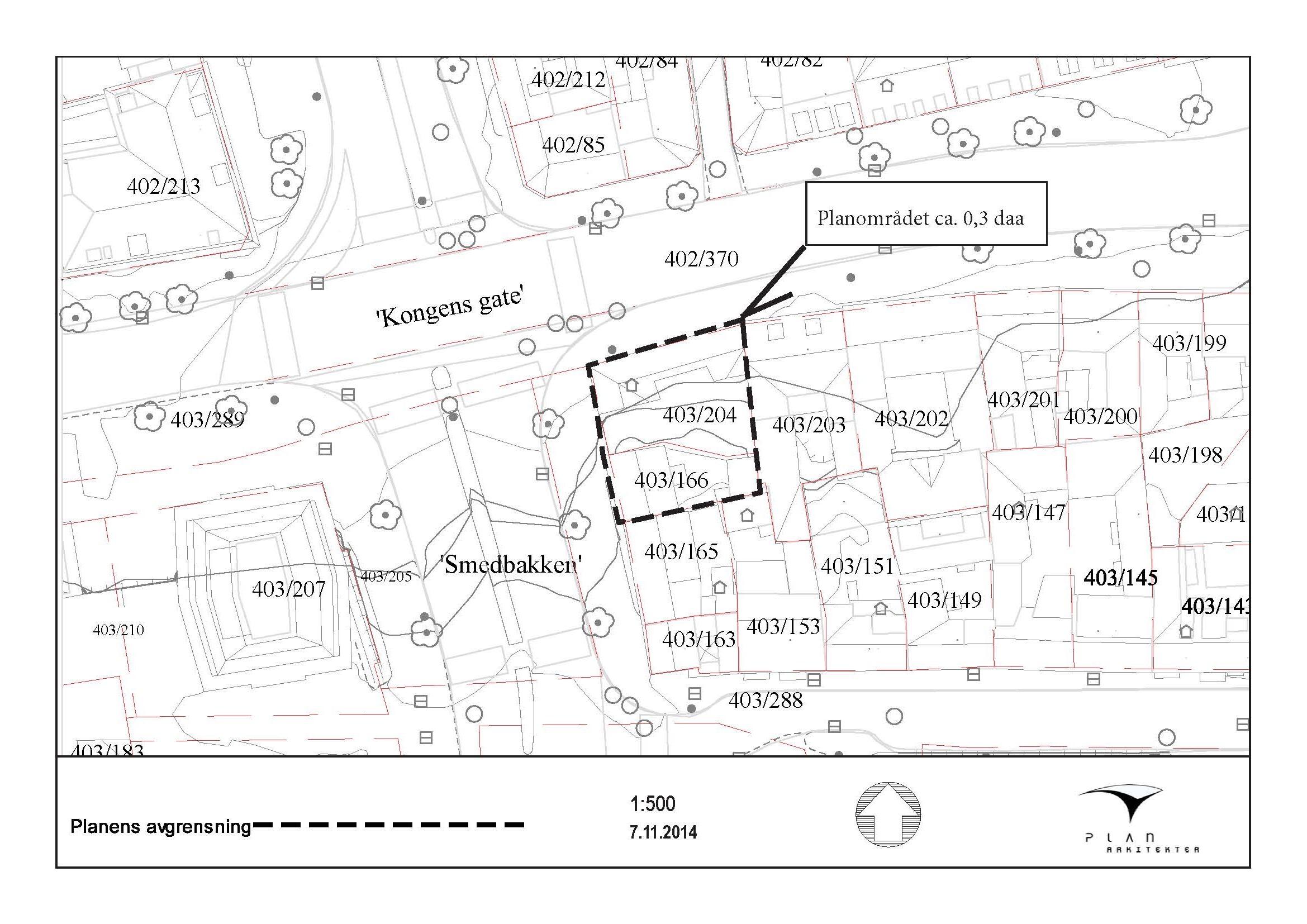 Varsel om oppstart av reguleringsarbeid for Kongens gate 43, gnr/bnr. 403/204 og 403/166, i Trondheim kommune